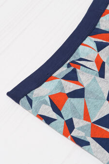Patterned boxers in stretch cotton, Grey, hi-res