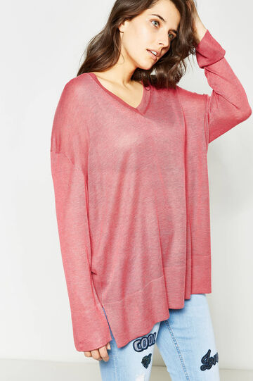 Curvy V-neck pullover with ribbing, Light Red, hi-res