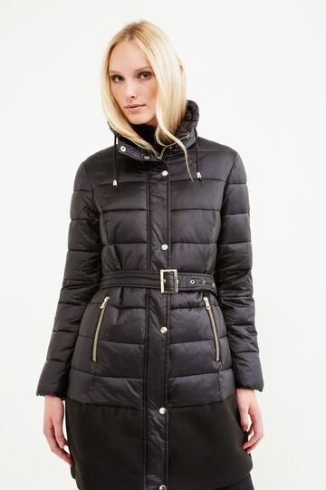 Stretch viscose jacket with belt, Black, hi-res