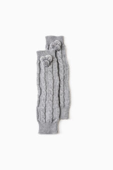 Knitted leg warmers with pompoms, Grey, hi-res