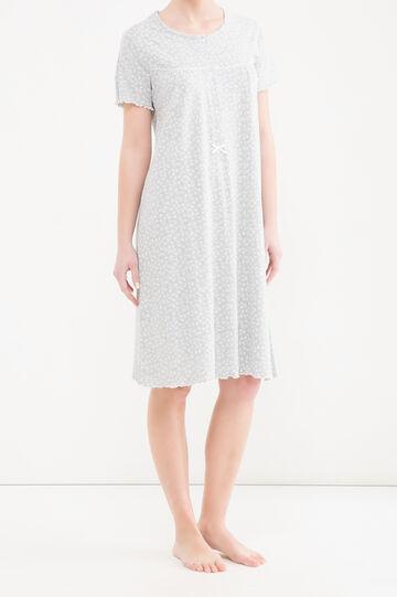 Patterned stretch cotton nightshirt, Grey Marl, hi-res
