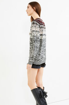 Pullover tricot con ricami a contrasto, Nero, hi-res