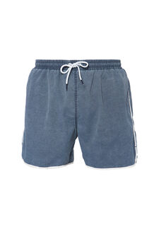 Solid colour swim boxer shorts with profiles, Navy Blue, hi-res