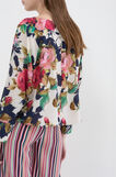 Floral print stretch blouse, Cream White, hi-res