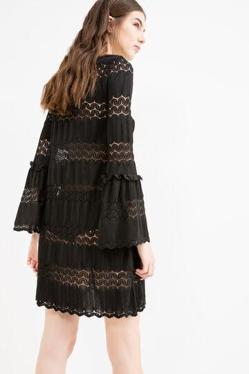 Short openwork dress with bell-bottom sleeves, Black, hi-res