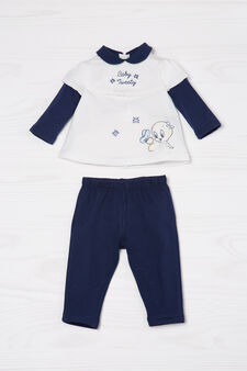 100% cotton outfit with Tweetie Pie print, White/Blue, hi-res