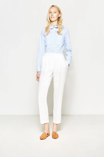 Cropped trousers with crease