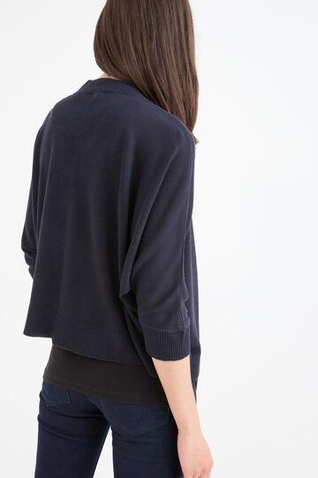 Solid colour viscose blend cardigan, Navy Blue, hi-res