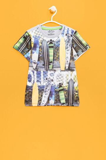 Camiseta de algodón con estampado grande., Gris jaspeado, hi-res