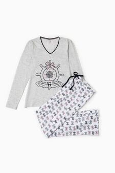 Bow pattern V-neck pyjamas, Grey Marl, hi-res