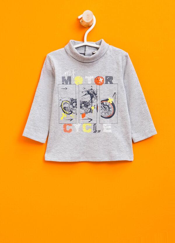 Printed turtleneck jumper in 100% cotton | OVS