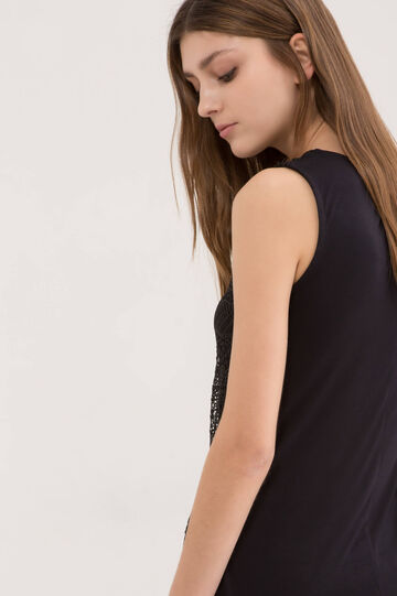 Solid colour top in 100% viscose with insert, Black, hi-res