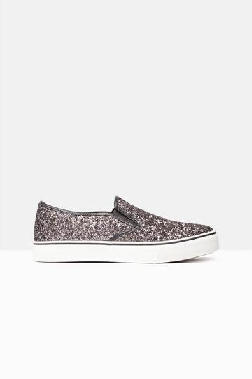 Sneakers slip on glitterate, Grigio scuro, hi-res