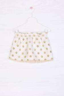 Glitter polka dot cotton blend skirt, Milky White, hi-res