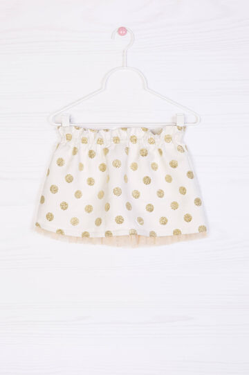 Glitter polka dot cotton blend skirt