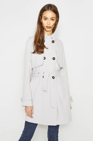 Trench coat with asymmetrical opening, Light Grey, hi-res