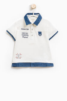 100% cotton polo shirt with printed lettering, Milky White, hi-res