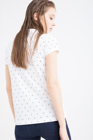 Stretch cotton polka dot polo shirt, White/Black, hi-res