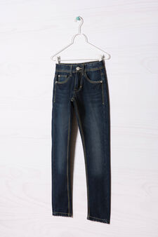 Jeans effetto used cuciture contrasto, Blu scuro, hi-res