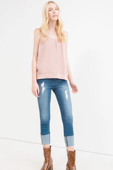 Cropped stretch jeans with turn-ups, Dark Blue, hi-res