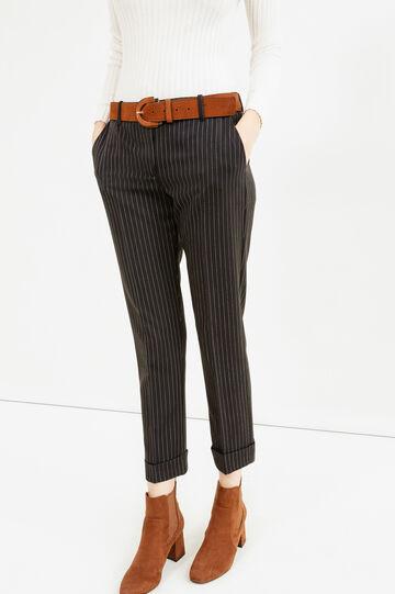Stretch cropped chalk-stripe trousers, White/Black, hi-res