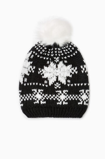 Knitted pattern beanie cap with diamantés, Black, hi-res