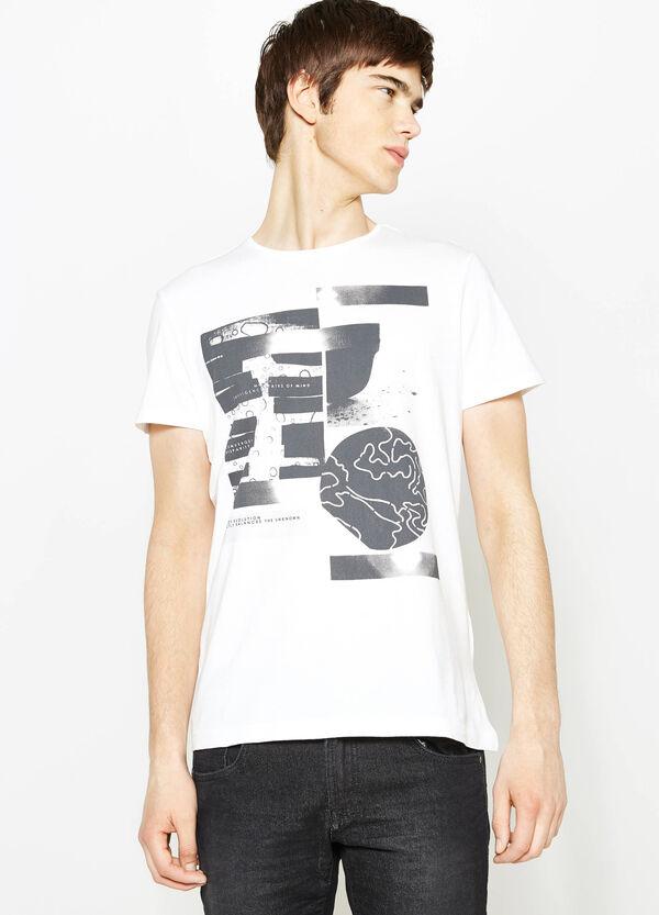 Camiseta de algodón con estampado grande delante y detrás   OVS