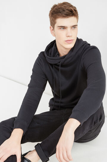 100% cotton hoodie with high neck, Black, hi-res