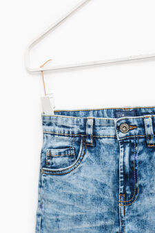 Worn-effect jeans with whiskering and fading., Soft Blue, hi-res