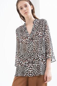 Animal print blouse, Black/Pink, hi-res