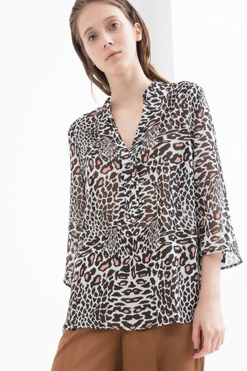 Animal print blouse, Black/Pink, hi-res