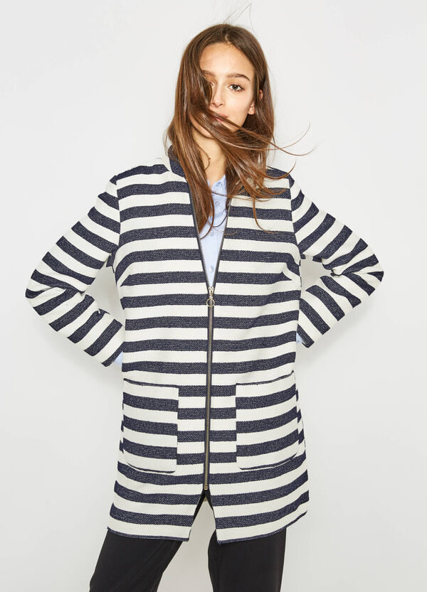 Striped cotton and viscose coat | OVS