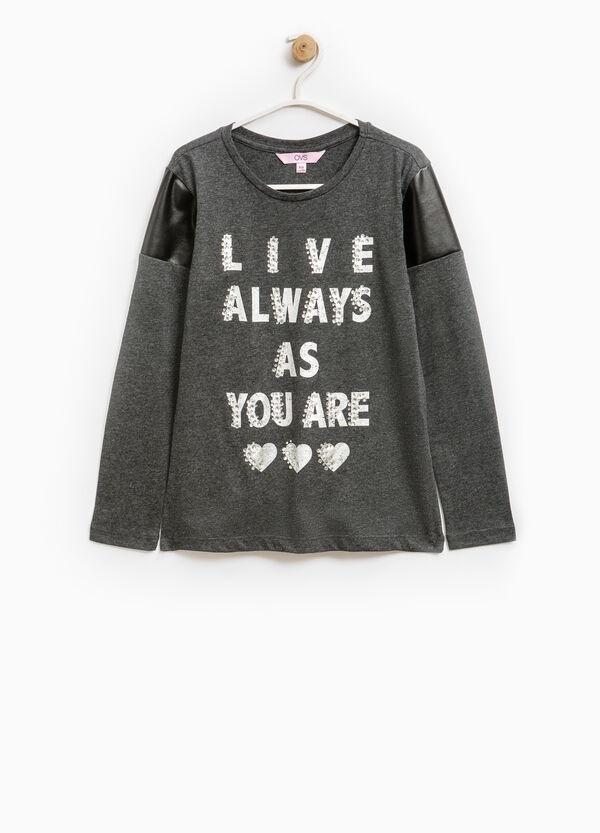 Cotton blend T-shirt with print and diamantés | OVS