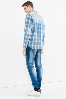 Casual check shirt in cotton, Blue, hi-res