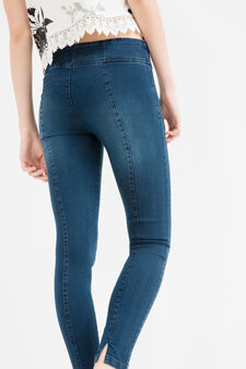 High-waisted stretch jeans with splits, Dark Blue, hi-res