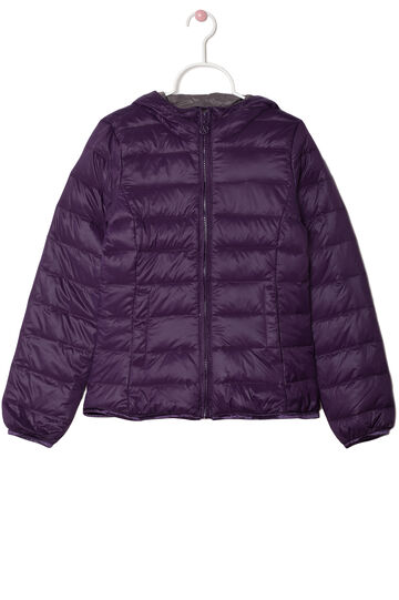 Quilted jacket with real down filling, Plum, hi-res