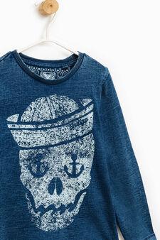 T-shirt effetto maltinto stampa teschio, Blu, hi-res