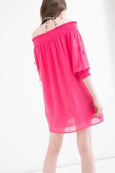 Solid colour short dress, Fuchsia, hi-res