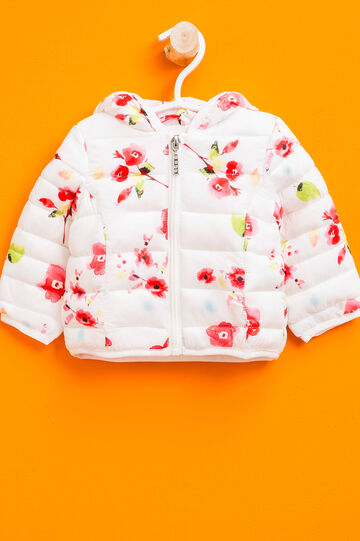 Down jacket with hood with floral pattern, White/Red, hi-res