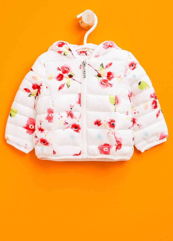 Down jacket with hood with floral pattern | OVS