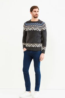 Knitted wool pullover with geometric embroidery, Dark Grey, hi-res
