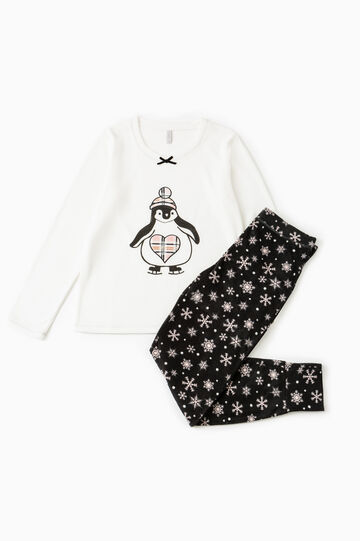 Fleece pyjamas with penguin print, Cream White, hi-res