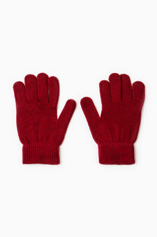 Solid colour gloves with ribbing, Dark Red, hi-res