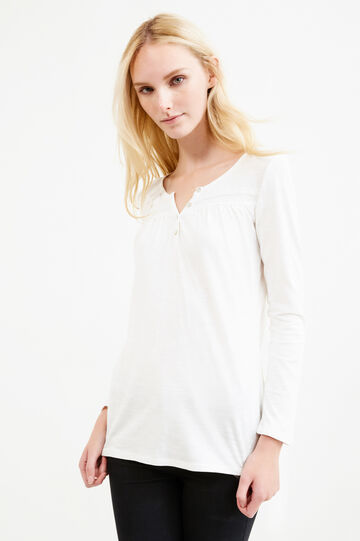 T-shirt with pleated motif, White, hi-res