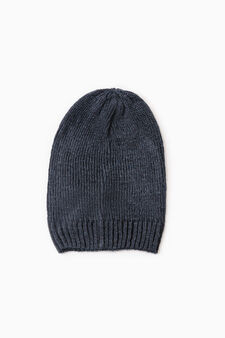 Knitted beanie cap, Navy Blue, hi-res