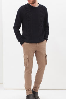 Pantaloni chino cargo stretch, Beige, hi-res