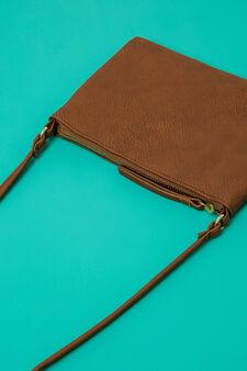 Leather look shoulder bag, Brown, hi-res