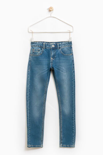 Worn-effect stretch jeans, Blue, hi-res