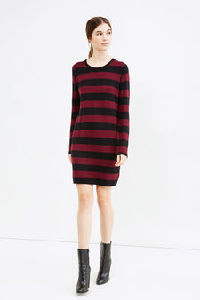 Stretch dress with striped pattern and zip on back, Aubergine, hi-res