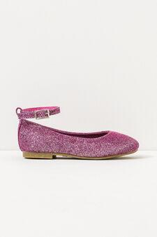 Glitter ballerina pumps with strap, Fuchsia, hi-res
